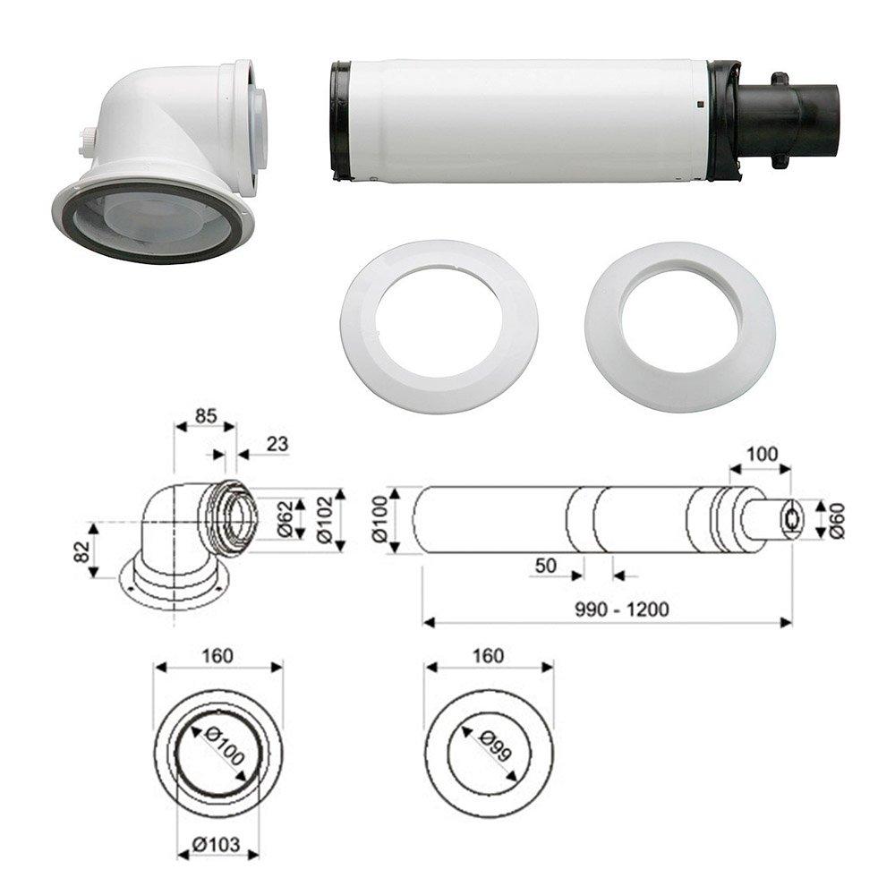Коаксіальний горизонтальний комплект Bosch AZB 916 (60/100 мм)