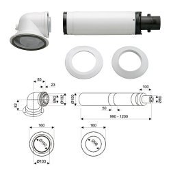 Коаксиальный горизонтальный комплект Bosch AZB 916 (60/100 мм)