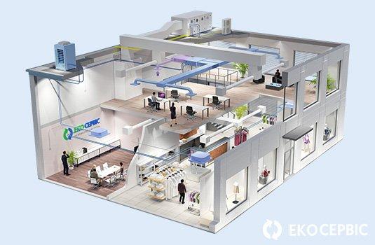 Изображение варианта обустройства системы кондиционирования в офисе, магазине