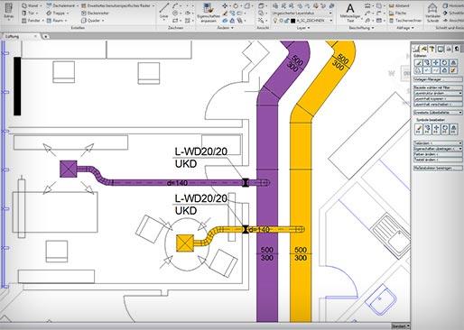 Изображение проектного решения системы кондиционирования в программе Автокад