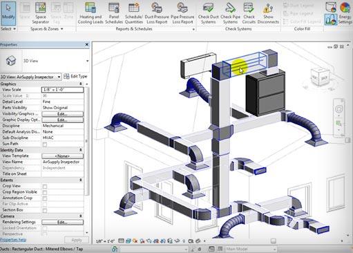 Изображение визуализации проектного решения системы кондиционирования в программе Ревит