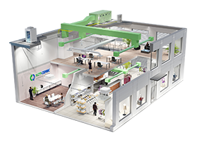 Визуализация примера концептуального решения по обустройству коммерческой недвижимости системами вентиляции, кондиционирования и отопления
