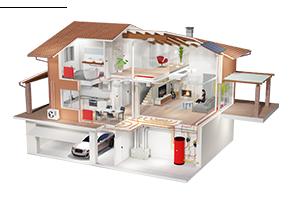 Визуализация примера концептуального решения по обустройству частного жилого дома системами вентиляции, кондиционирования и отопления
