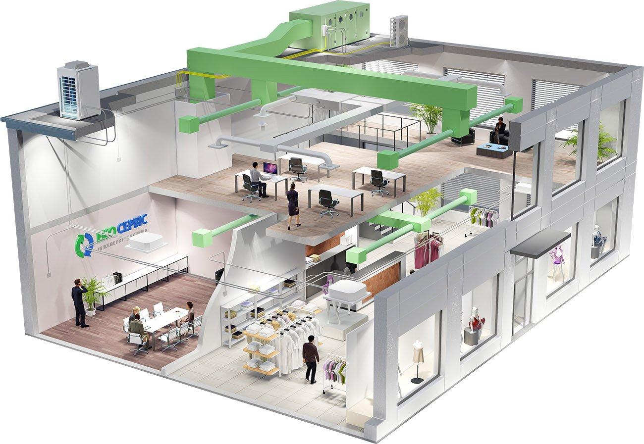 Визуализация концептуального решения вентиляции для коммерческой недвижимости при помощи приточно-вытяжной установки с рекуперацией тепла
