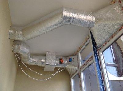 Фото с монтажа вентиляции и кондиционирования в квартире в Престиж Холл, город Киев